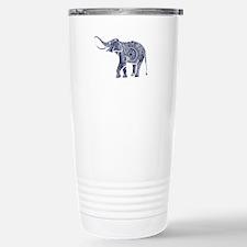 Navy Blue & White Ornat Travel Mug