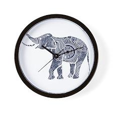 Navy Blue & White Ornate Swirls Elephan Wall Clock