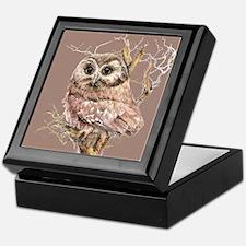 Cute Little Owl in Tree Bird Nature Watercolor Kee