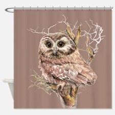 Cute Little Owl in Tree Bird Nature Watercolor Sho
