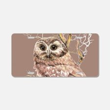 Cute Little Owl in Tree Bird Nature Watercolor Alu