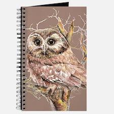 Cute Little Owl in Tree Bird Nature Watercolor Jou
