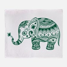 Cute Floral Elephant In Hunter Green Throw Blanket