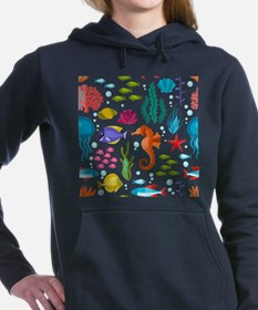 Colorful sea life and an Women's Hooded Sweatshirt