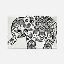 Black Floral Paisley Elephant Illustration Magnets