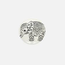 Black Floral Paisley Elephan Mini Button (10 pack)