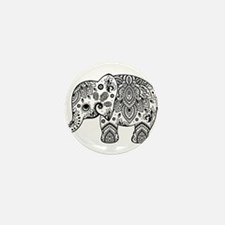 Black Floral Paisley Elephant Illustra Mini Button
