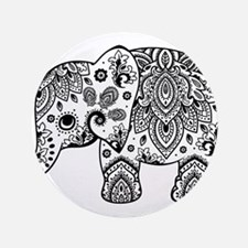 "Black Floral Paisley Elepha 3.5"" Button (100 pack)"