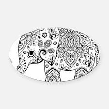 Black Floral Paisley Elephant Illu Oval Car Magnet