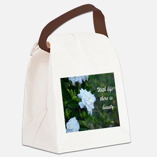 Meaningful Gardenia Flower Quote Canvas Lunch Bag