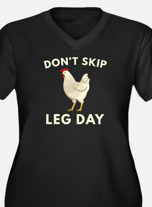 Don't Skip Leg Day Women's Plus Size V-Neck Dark T