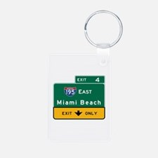 Miami Beach, FL Road Sign, Keychains