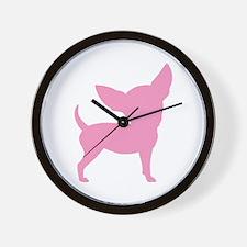 Pink Funny Cute Chihuahua Wall Clock