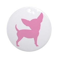 Pink Funny Cute Chihuahua Ornament (Round)