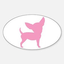 Pink Funny Cute Chihuahua Oval Decal