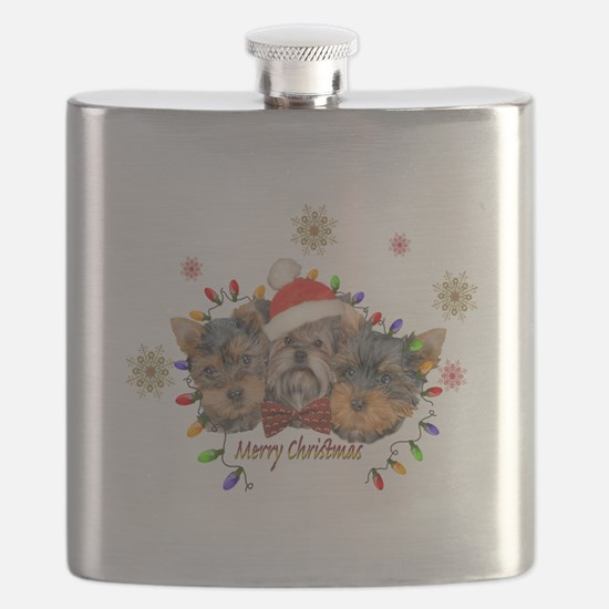 Yorkie Christmas Flask