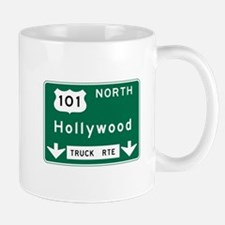 Hollywood, CA Road Sign, USA Small Small Mug