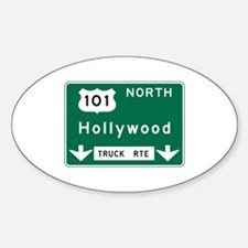 Hollywood, CA Road Sign, USA Sticker (Oval)