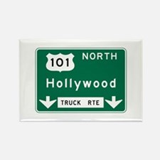 Hollywood, CA Road Sign, USA Rectangle Magnet
