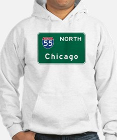Chicago, IL Road Sign, USA Hoodie