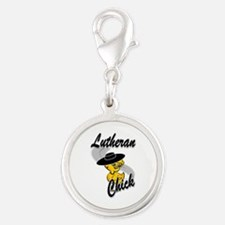 Lutheran Chick #4 Silver Round Charm