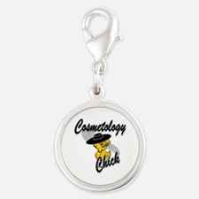 Cosmetology Chick #4 Silver Round Charm