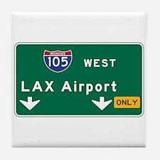 LAX Airport, Los Angeles, CA Road Sig Tile Coaster