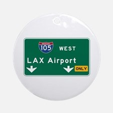 LAX Airport, Los Angeles, CA Road S Round Ornament