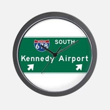 Kennedy Airport, NY Road Sign, USA Wall Clock