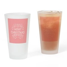 Merry Christmas Hand Drawn - Coral Drinking Glass