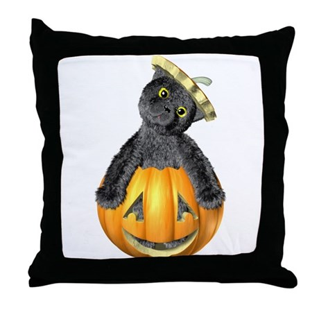 Halloween Jack-'O-Lantern Cat Throw Pillow
