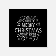 "Merry Christmas Hand Drawn Square Sticker 3"" x 3"""