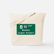 Boston Logan Airport, MA Road Sign, USA Tote Bag