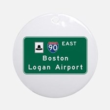 Boston Logan Airport, MA Road Sign, Round Ornament