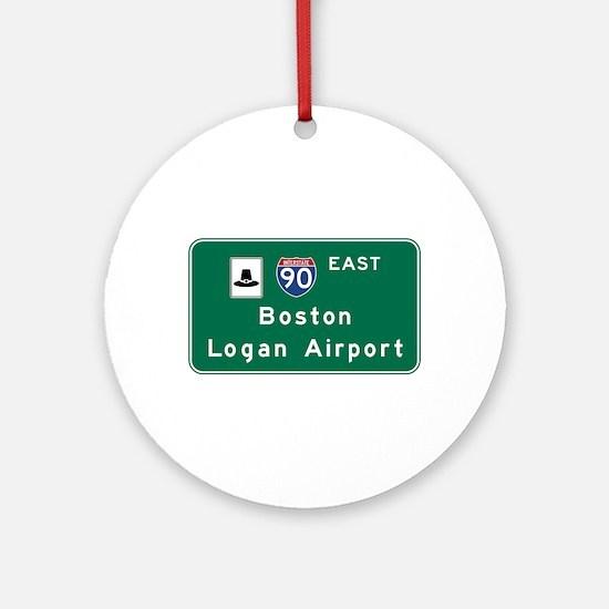 Boston Logan Airport, MA Road Sign, Round Ornament