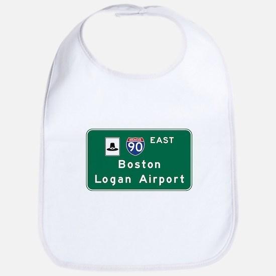 Boston Logan Airport, MA Road Sign, USA Bib