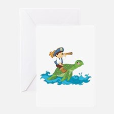 pirate kid riding a sea turtle Greeting Cards
