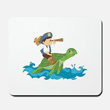 pirate kid riding a sea turtle Mousepad