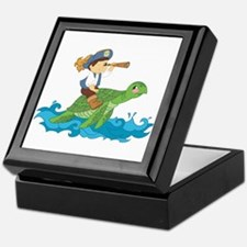 pirate kid riding a sea turtle Keepsake Box