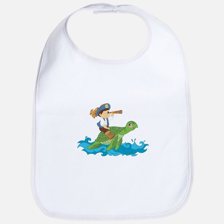 pirate kid riding a sea turtle Bib