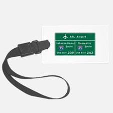 Atlanta Airport, GA Road Sign, U Luggage Tag