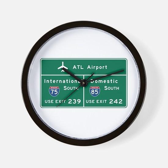 Atlanta Airport, GA Road Sign, USA Wall Clock