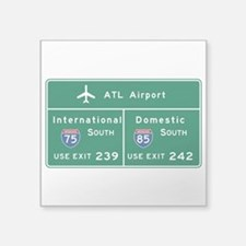 "Atlanta Airport, GA Road Si Square Sticker 3"" x 3"""
