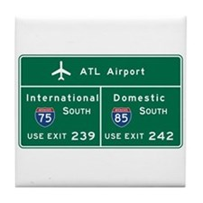 Atlanta Airport, GA Road Sign, USA Tile Coaster