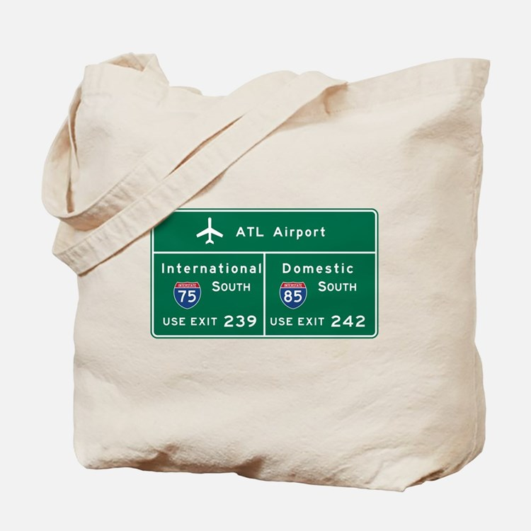 Atlanta Airport, GA Road Sign, USA Tote Bag