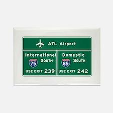 Atlanta Airport, GA Road Sign, US Rectangle Magnet