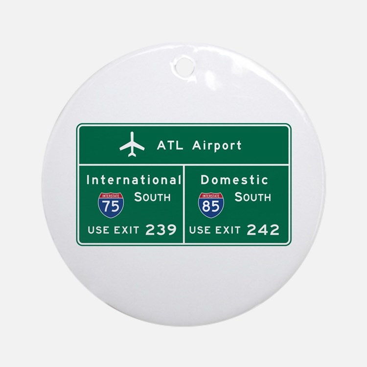 Atlanta Airport, GA Road Sign, USA Round Ornament