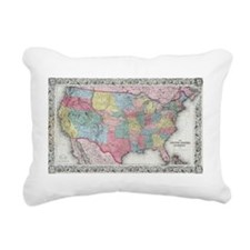 Cute United states map Rectangular Canvas Pillow