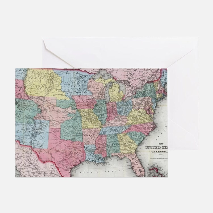 Cute Map of united states Greeting Card