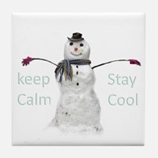 snowman keep calm stay cool Tile Coaster
